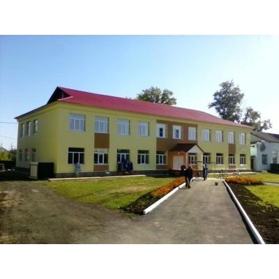 Школа - штукатурный фасад, п. Шаранга, Нижегородская область